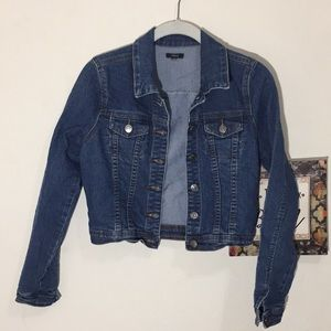 Chiqle Denim Jean Jacket LS Waist Small Button Up